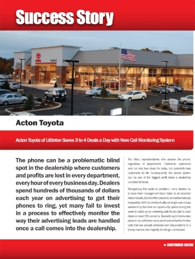 Acton Toyota Of Littleton Saves 3 To 4 Deals A Day With Callrevu Call Monitoring System